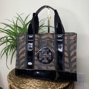 TORY BURCH Mini Ella Tote Canvas Patent Leather